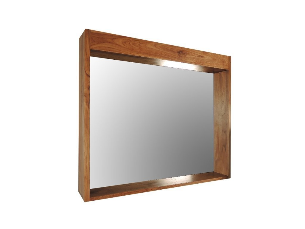 Teak wood mirror with shelf for sale online skyllas sunstrum - Miroir salle de bain bois ...