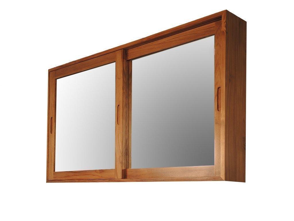 teak wood storage cabinet mirror for sale online skyllas sunstrum. Black Bedroom Furniture Sets. Home Design Ideas