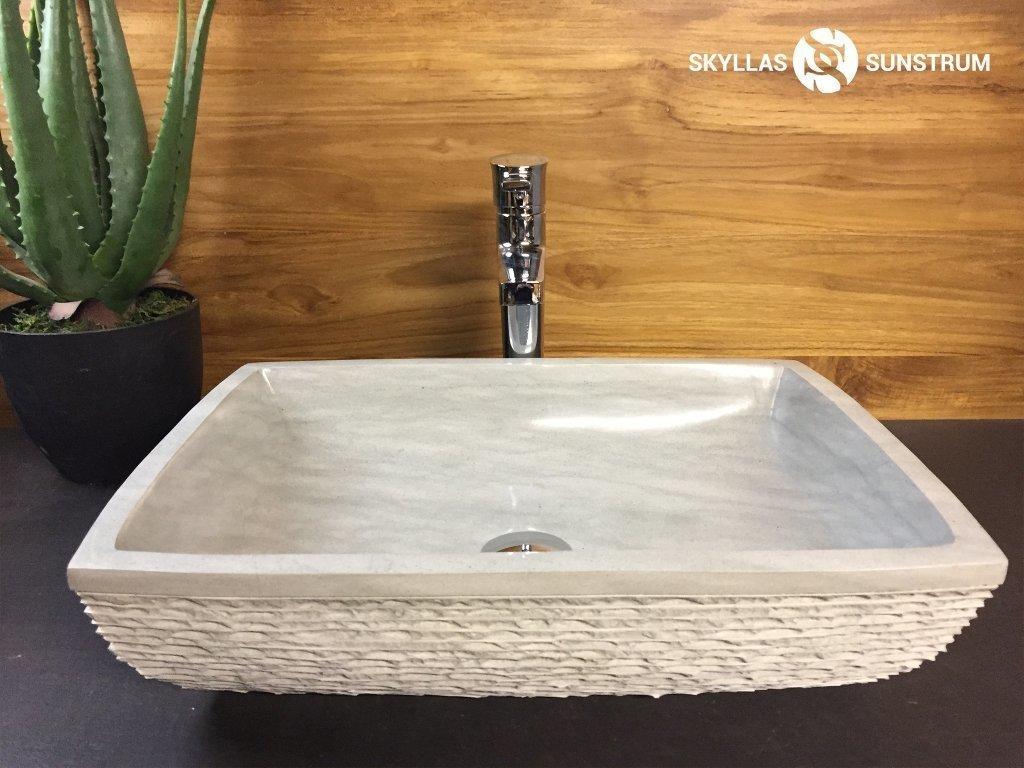 vasque en gres Triton- Vasque-Lavabo en pierre de grès verte (20u0027u0027x14u0027